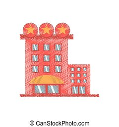 drawing building hotel lodging stars vector illustration eps...