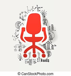 drawing business formulas. office chair