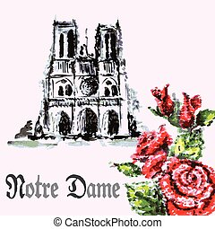 watercolor background bouquet of roses and Notre Dame