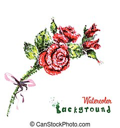drawing by hand beautiful watercolor background bouquet of...