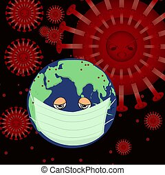 drawing by vector World cartoon sick and wearing a medical mask to prevent the pandemic colona covid-19 virus worldwide