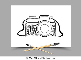 drawing camera on white paper - Paintbrush drawing camera on...