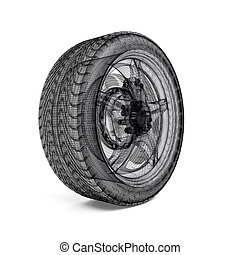 Drawing car wheel