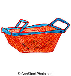 drawing cartoon a children watercolor basket on white