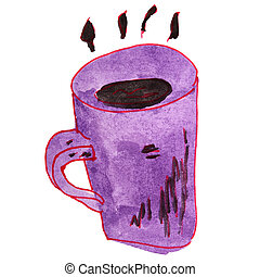 drawing cartoon a children watercolor coffee on white