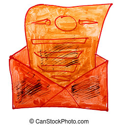 drawing cartoon a children watercolor envelope on white