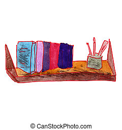 drawing cartoon a children watercolor shelf on white