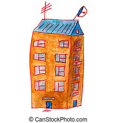 drawing cartoon kids watercolor high-rise building on a white ba
