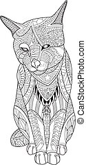Drawing cat for the coloring book for adults