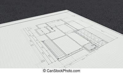 Drawing changed house,ang sold sign - Architectural drawing...