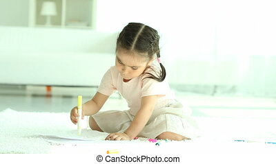 Drawing children - Two little girls sitting on floor and...