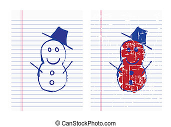Drawing christmas icon on paper