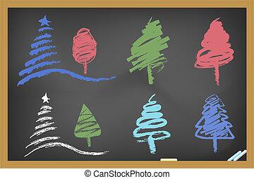 drawing christmas tree on blackboa