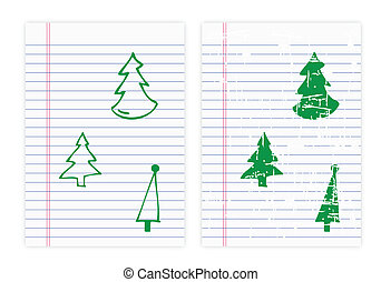 Drawing christmas tree on paper