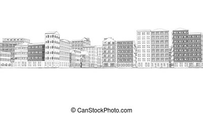 Drawing city loop white town