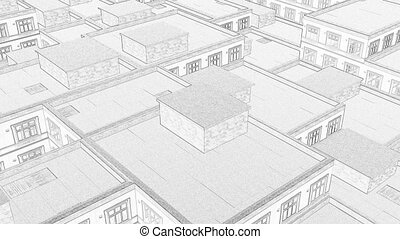 Drawing city roofs Line art Modern continuous 4k
