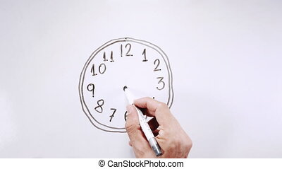 Drawing clock and moving - Top view of hand drawing clock...