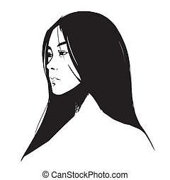 drawing close-up beautiful girl on white background