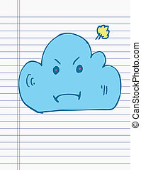 Drawing cloud on paper
