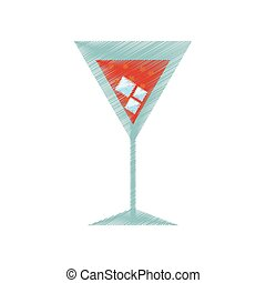 drawing cocktail cherry alcohol ice
