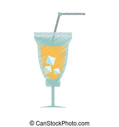 drawing cocktail fresh drink straw ice