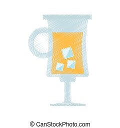 drawing cocktail glass cup with ice