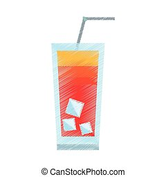 drawing cocktail on the beach straw ice