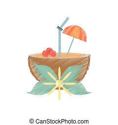 drawing coconut cocktail umbrella straw flower