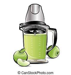 Drawing color kitchen blender with Apple juice