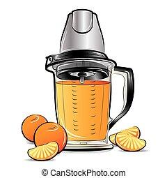 Drawing color kitchen blender with Orange juice