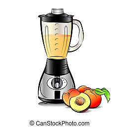 Drawing color kitchen blender with Peach juice