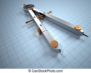 Close up of drawing compass - 3d render illustration