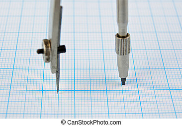 Drawing compass on graph paper