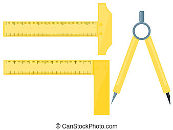 Vector images drawing rulers with compass on white background.