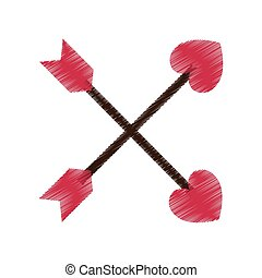 drawing crossed arrow valentine day party vector...