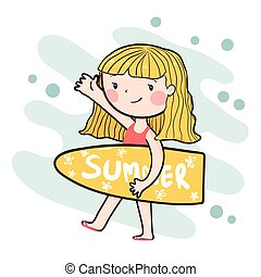 drawing cute happy surfer girl holding summer surfboard flat vector