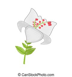 drawing day lily flower branch decoration