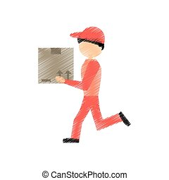 drawing delivery man handing box