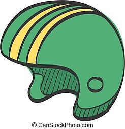 drawing., desporto, capacete motocicleta, cabeça, ícone, segurança proteção, cor
