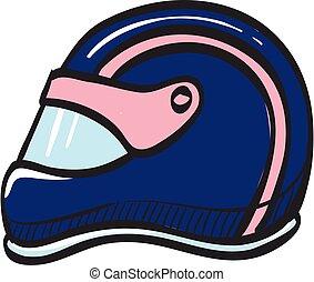 drawing., desporto, competição, capacete motocicleta, cabeça, ícone, proteção, raça, segurança, correndo, cor