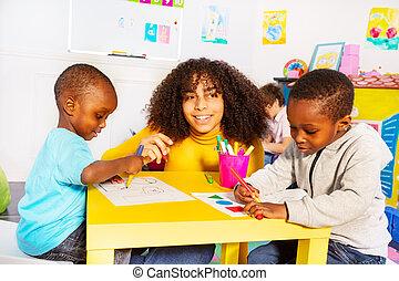 Drawing developmental task in nursery school class