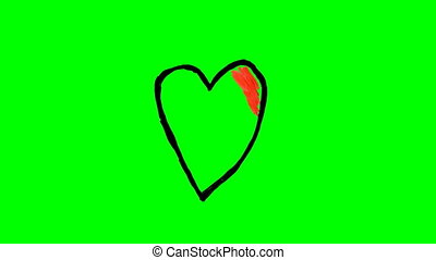 Drawing different hearts over green screen