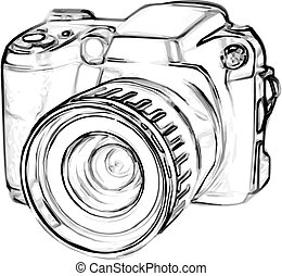 drawing old digital photo camera. simple sketch