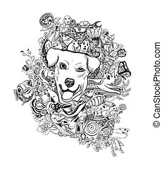 Drawing doodle of dog head with animals ,flower and abstract shape.