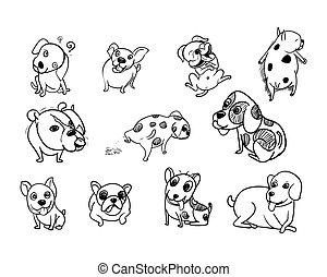 Drawing doodle set of dog