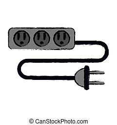 drawing electric extension cord cable and plug three outlets