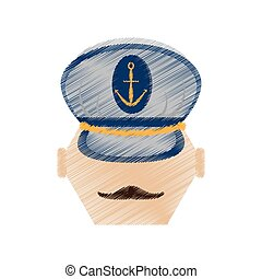 drawing face mustache captain marine hat