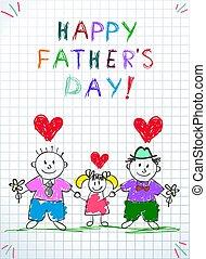 drawing., family., ojciec, dzień, lgbt, dzieci, szczęśliwy