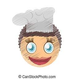 drawing female chef emoticon image