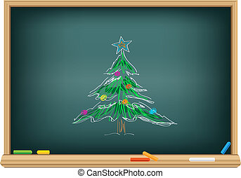 Drawing fir by a chalk - Drawing christmas fir by a chalk on...
